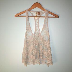 Eyeshadow Sheer mesh lace crop top